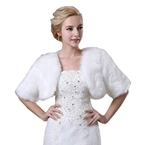 White Wedding Bridal Faux Fur Wrap Shawl Shrug Bolero Cape Faux Fur Jacket Coat Shawls Stole