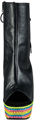 Pleaser Delight-1018rbs Damen Kurzschaft Stiefel Schwarz (Schwarz (Blk Faux Leather/Neon Multi))