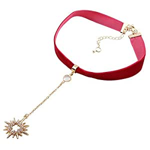 Red Soft Flannel Choker Diamond Sun Pendant Chain Necklace for Women