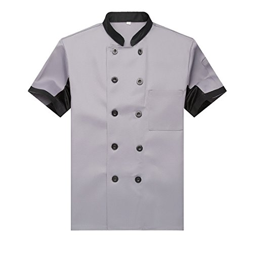 Chef Jackets Waiter Coat Short Sleeves Underarm Mesh Size US: XXL Grey (Label:4XL)
