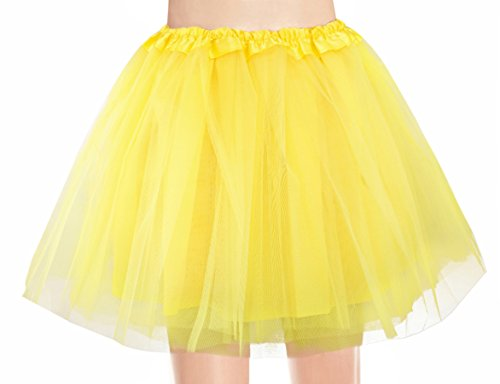v28 Women's, Teen, Adult Classic Elastic 3, 4, 5 Layered Tulle Tutu Skirt (One Size, 4Layer-Yellow)]()