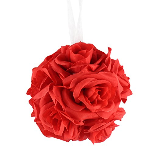 AerWo 6 Inch Kissing Ball Pomander Flower Crystal Pew Wedding Silk Party Rose Red ()