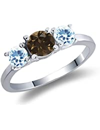 1.12 Ct Round Brown Smoky Quartz Sky Blue Topaz 925 Sterling Silver 3-Stone Ring