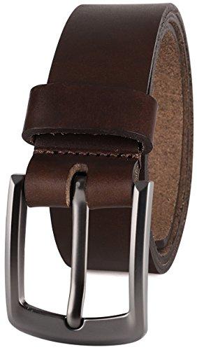 Men's Casual Full Grain Classic Leather Dress Belt For Jeans,1.5