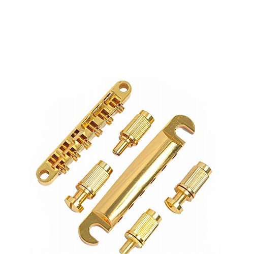 MOBIZ 1set ABR-1 Style Tune-o-matic Bridge Tailpiece Gold for Gibson Les Paul Gear (Abr 1 Tune O-matic Bridge)