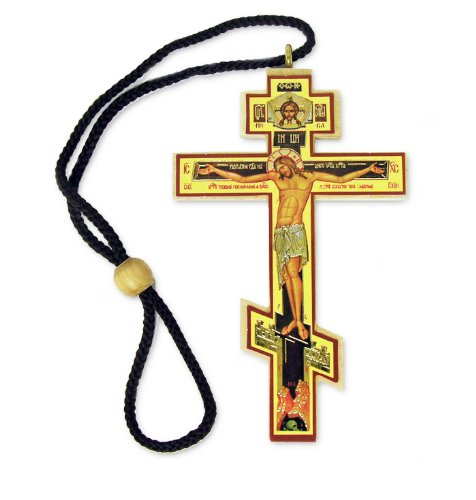 (Authentic Russian Orthodox Cross Wood Crucifix Icon on Rope Cord Home Chapel Decoration 3 4/8 Inch)