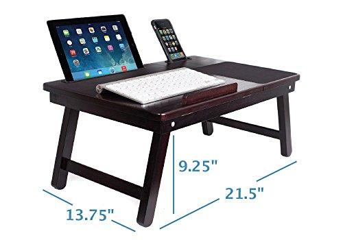 Sofia + Sam Multi Tasking Laptop Bed Tray | Lap Desk Supports Laptops Up To 18 Inches (Walnut)