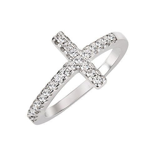CloseoutWarehouse Cubic Zirconia Christian Sideway Cross Ring Sterling Silver Size 9 (Sterling Cross Ring Silver)