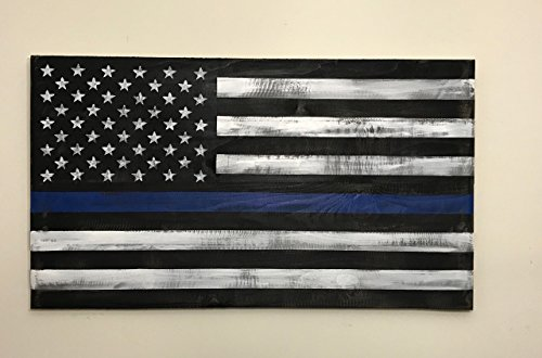 Reclaimed wood Thin Blue Line Flag, Wood Thin Blue Line Flag 22x40'', veteran made. pallet wood flag by Lee Keller Art