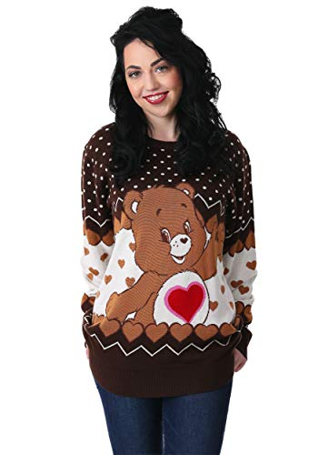- Tenderheart Bear Adult Care Bears Ugly Christmas Sweater X-Small Brown