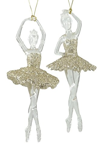 Caffco Glittery Ballerinas Dancing Hanging Christmas Ornaments - Set of -