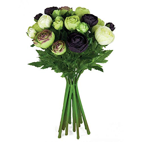 MARJON FlowersArtificial Silk Flowers Ranunculus Arrangement Aubergine Cream Green 15 Stems