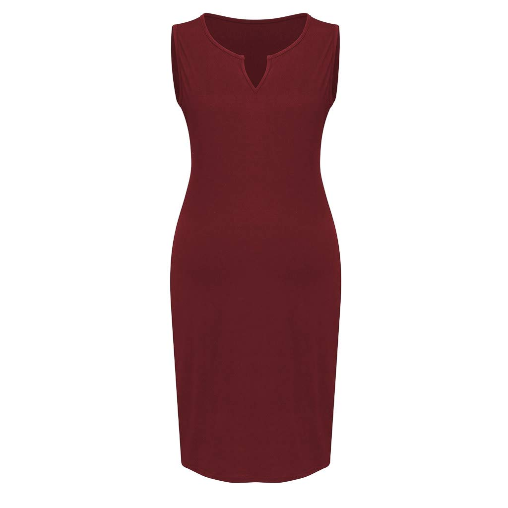 chuxin Huang❤️ Bodycon Maternity Dress, Sleeveless Casual Pregnancy Clothes Cotton Ruched Sides Red