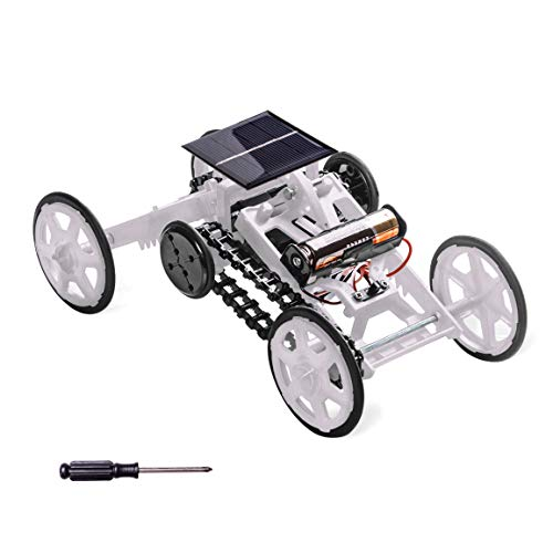 (Stem Projects for Kids Ages 8-12,Refasy Children Solar Powered Car Kit DIY Climbing Vehicle Motor Toys for Kids 10 16 Year Old Educational Circuit Building Kit Car Assembly Toys White 2)
