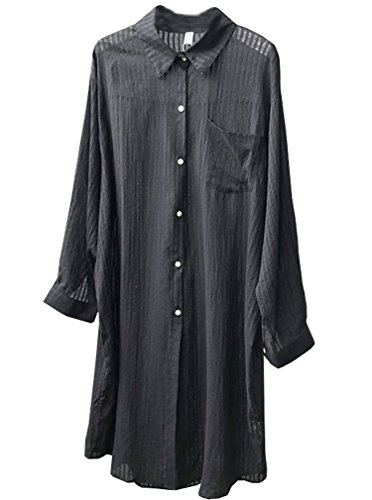 Linen Stripe Dress Shirt (Soojun Womens Causal Loose Cotton Linen Stripe Button Down Shirts, Black, Medium)
