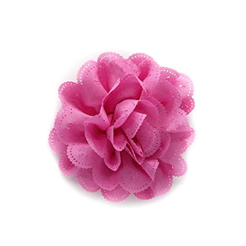 - Bubblegum Pink Eyelet Chiffon Hair Flower Clip