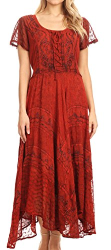Peasant Country Girl Dress - Sakkas 1322 Marigold Embroidered Fairy Dress - Cayenne - 1X/2X