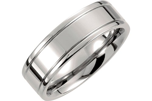 Titanium 7mm Flat Ridged Comfort Fit Band, Size 11 by The Men's Jewelry Store