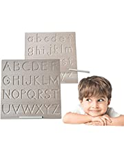 WAQIAGO Wood Alphabet Tracing Board, Montessori Wooden Letters, Large Print Letters, Reversible Uppercase and Lowercase for Toddler, Boy, Girl