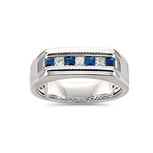 La4ve Diamonds 14k White Gold Princess-Cut Diamond & Sapphire Men's Milgrain Wedding Band Ring (1/2 cttw, I-J, SI2-I1), Size 10.5 (Diamond Princess Cut Mens Ring)