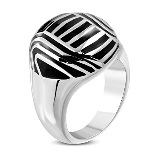 Stainless Steel 2 Color Black Striped Enameled Cocktail Dome ()