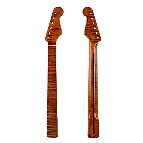 21 Frets one pieces Tiger flame material maple glossy yellow paint Electric Guitar Neck Wholesale Guitar accessories parts