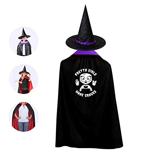 Pretty Girls Kids Cape Halloween Costumes Reversible Cloak with Wizard Hat Purple