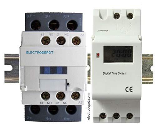Time Clock 7 Days, 24 Hrs Control 110VAC, 40Amp 4 Pole SPST DIN rail