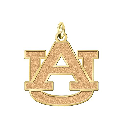 College Jewelry Auburn University Tigers Solid 14K Yellow Gold Natural Finish Cut Out Logo Charm (1/2