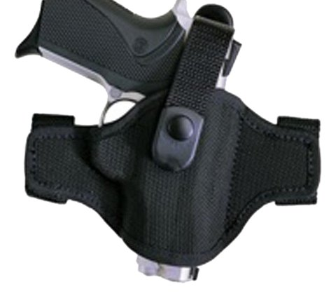 Bianchi Thumbsnap Belt Holster - Bianchi Accumold Holster 7506 Black Belt Slide - Size 14A with Thumbsnap, Glock 17, 19, 22, 23, 26, 27, 34, 35 (Right Hand)