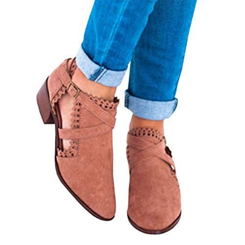 la Block Hebilla de Las Marrón Alto de Zapatos de de Cuero señoras Redondeada de Heel Botines imitación Chelsea Encaje Mujeres Trabajo hibote de Escuela tacón Mediados Las Otoño de wRHRF