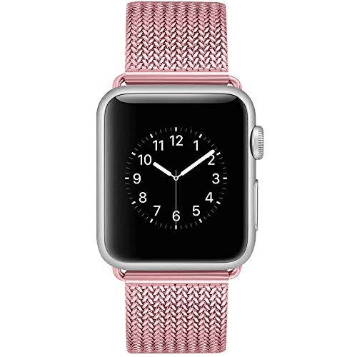 YOUKEX Milanese Loop Replacement Band Compatible with Apple Watch 38mm 42mm 40mm 44mm,Stainless Steel Mesh Band Magnetic Closure iWatch Series 4/3/2/1-38mm/40mm Rose-Pink -