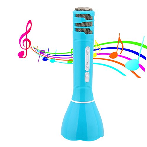 Price comparison product image Hica Mini Home Karaoke Entertainment Microphone Music Playing Portable Bluetooth Speaker Rechargeable Handheld Wireless Microphone for iPhone / Android Smartphone / Tablet-Blue