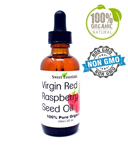 Red 2 Ounce Bottle - 100% Organic Red Raspberry Seed Oil | Imported From Chile | 100% Pure | Cold-Pressed | Natural Moisturizer for Skin, Hair and Face | By Sweet Essentials (2oz Glass Bottle With Glass Dropper)