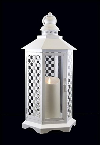 Gki Bethlehem Lighting Led - GKI/Bethlehem Lighting Lattice Luminara Lantern, 16-Inch, White