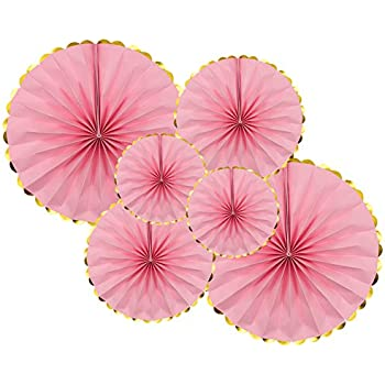 KAXIXI Party Hanging Paper Fan Set, 6Pcs Pink Round Garlands Birthday Wedding Baby Shower Girls Night Party Decorations