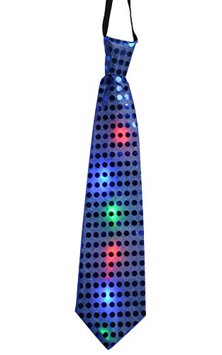 JenniWears Light Up LED Neck Ties Novelty Blinking Party Toy Neckties Dark (Novelty Mens Tie Clothing)