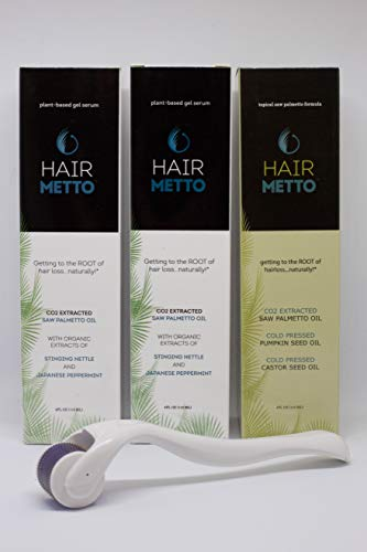 Hairmetto Hair Restoration Kit for Hair Loss and Hair Regrowth | Regrowth Treatment for Men, Women | Serum and Oil for Hair Growth | Hair Growth with Hair Loss Products | Scalp Derma Roller Included