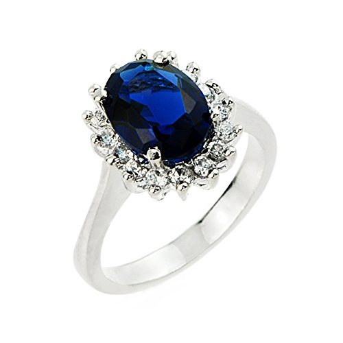 Sterling Silver Ladies (LCS) September Birthstone and CZ Gemstone Ring