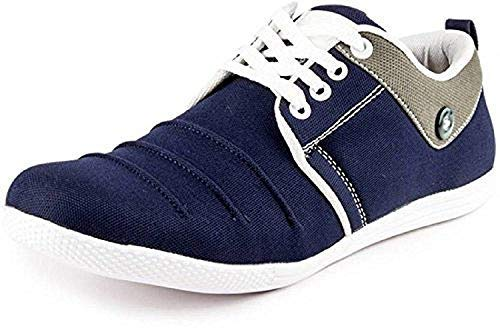 69bf3473419f Venetien Casual Blue Button Canvas Stylish lace up Comfortable Shoes for  Men