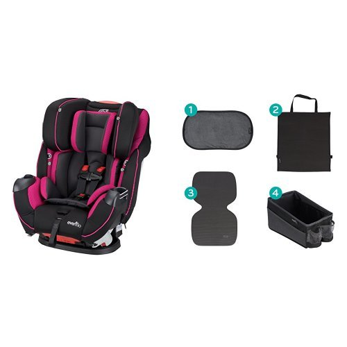 Evenflo Symphony Elite All-in-One Convertible Car Seat, Raspberry Sorbet with Car Seat Accessory Kit