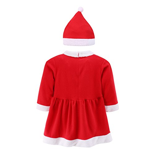 Baby Girls Christmas Costume Dress Xmas Senta Claus Onesie Outfit Romper & Hat