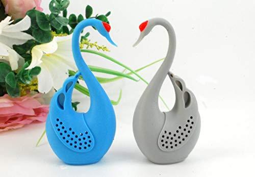 Set of 2 Swans Love Birds Shape Tea Infuser Loose Leaf Strainer Herbal & Fruit Tea Filter Diffuser Food Grade Silicone in Grey & Blue