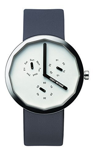 Issey Miyake TWELVE Light Grey Dial Blue Leather Men's Watch NY0P051Y