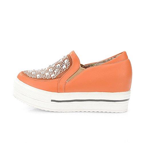 AmoonyFashion Womens Closed Round Toe Low Heel Platform PU Soft Material Solid Pumps with Glass Diamond Orange jIotvi3h