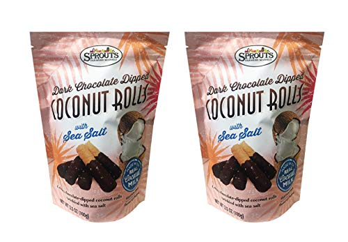 - Sprouts Crispy Sweet Coconut Rolls 3.5oz, 2 Pack (Dark Chocolate with Sea Salt)