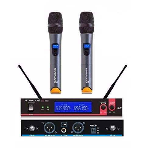 STARAUDIO Pro Audio KTV Wireless PA DJ Stage Church Club Karaoke Handheld UHF Microphone System Mic For Church Sing Song Wedding Party Night Clubs School Play Speech Outdoor Indoor (Pro Dj Club Stage)