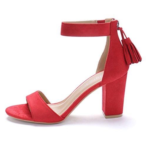 Tassel Strap Sandals Red Women Allegra K Ankle qwRzEg