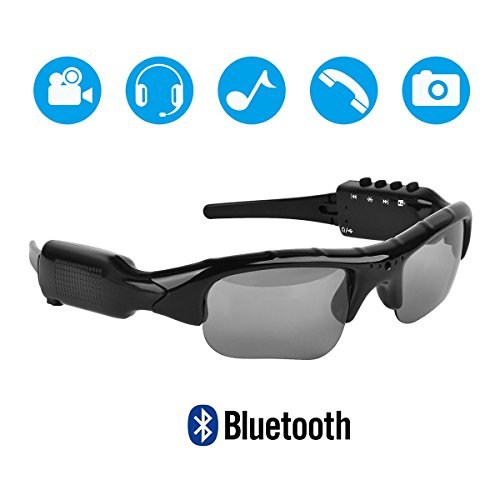 Hereta 5M Pixels Bluetooth Sunglasses with Camera 1080P Support Micro SD Card Expandable to 32GB with MP3 + Bluetooth + Camera + Video Functions Camera Sunglasses Mp3 Player