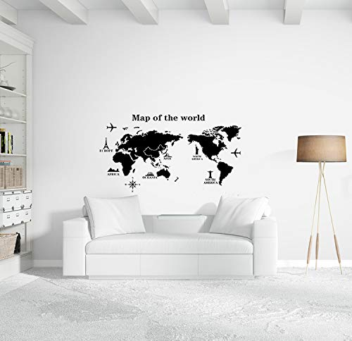 World Map Wall Decal - Educational Decals - World Map Wall Sticker - Vinyl Wall Art Removable Sticker - Airplane Decor - Large Peel and Stick Art Mural, Home/Office/Classroom Decor by Dooboe
